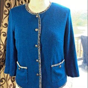 Joan Rivers Button Down Royal Blue Blazer Jacket M